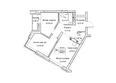 Жилой комплекс ГУДИМОВ: Планировка трехкомнатной квартиры 58 кв.м
