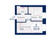 SCANDIS (Скандис), дом 4: Планировка двухкомнатной квартиры 35 кв.м