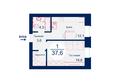 Жилой комплекс SCANDIS (Скандис), дом 5: Планировка однокомнатной квартиры 37,6 кв.м