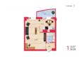 КИРОВА, дом 2: Планировка однокомнатной квартиры 34,35 кв.м