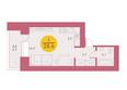 Арбан SMART (Смарт) на Шахтеров, д 1: Планировка однокомнатной квартиры 28,6 кв.м