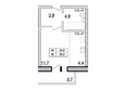Первый Ленинский квартал, д. 2: Планировка 1-комн 28,2 м²