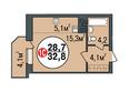 Жилой комплекс ПОКРОВСКИЙ, б/с 3, 4, 5: Планировка однокомнатной квартиры 32,8 кв.м