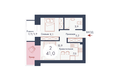 SCANDIS (Скандис), дом 10: Планировка двухкомнатной квартиры 41 кв.м