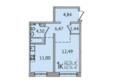 SUNCITY (Сан Сити), дом 6: 1-комнатная 40,74 кв.м