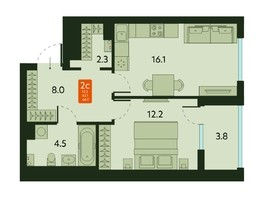 Продается 2-комнатная квартира ТАЙГИНСКИЙ ПАРК, дом 2, 46.9  м², 4040000 рублей