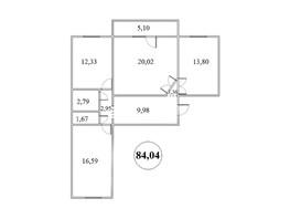 Продается 3-комнатная квартира БЕРЁЗКА, дом 4, 84.04  м², 5127000 рублей