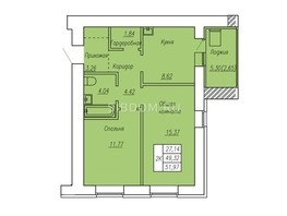 2-комнатная квартира, 52  м², 8/17 этаж