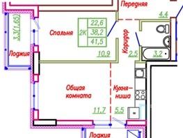 2-комнатная квартира, 43  м², 6/25 этаж