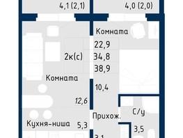 Продается 2-комнатная квартира NORD (Солнечная поляна, 94), корпус 2, 38.9  м², 2839700 рублей