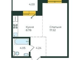1-комнатная квартира, 38.59  м², 14-18/19 этаж