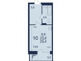 1-комнатная квартира, 26.4  м², 12-13/21 этаж