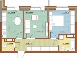 2-комнатная квартира, 52.77  м², 13/22 этаж