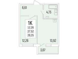 1-комнатная квартира, 39.35  м², 2/16 этаж
