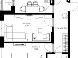 2-комнатная квартира, 58.91  м², 14/24 этаж