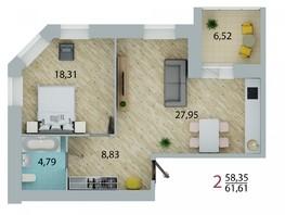 Продается 2-комнатная квартира ЕНИСЕЙСКИЙ, дом 1, 61.61  м², 5360070 рублей