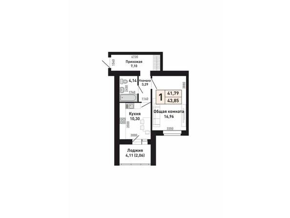 Планировки Жилой комплекс КРАСНООБСКИЙ, дом 230 - Планировка однокомнатной квартиры 41,79 кв.м