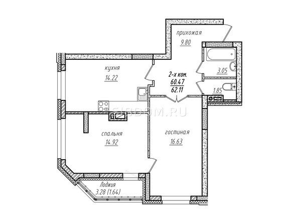 2-комнатная 62.11 кв.м