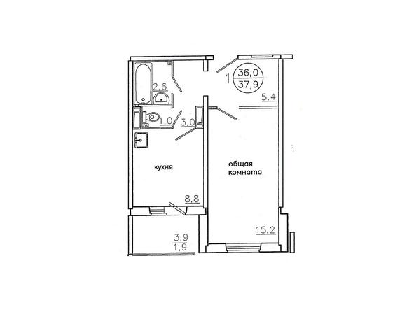 Планировки Жилой комплекс Караульная, 6 дом, 3 оч - Планировка однокомнатной квартиры 37,9 кв.м. (левая сторона)