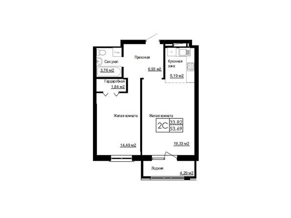 Планировки Жилой комплекс ДОМ НА БЕРЕЗОВОЙ РОЩЕ - Планировка двухкомнатной квартиры 53,68 кв.м