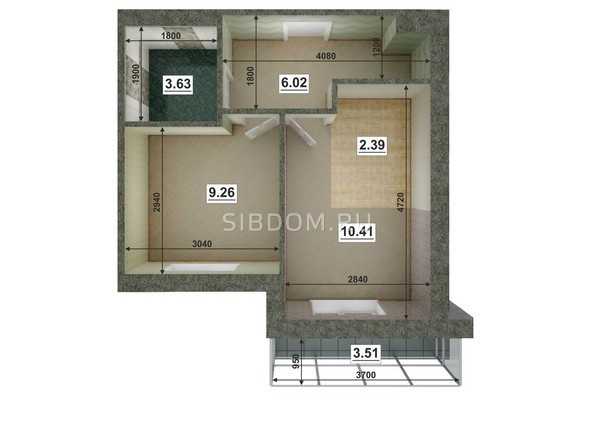 Планировки Жилой комплекс ЮГО-ЗАПАДНЫЙ, б/с 8-10 - Планировка двухкомнатной квартиры 32,59 кв.м
