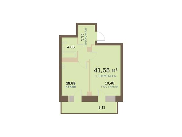 Планировки Жилой комплекс БОГРАДА 109, дом 1 - Планировка однокомнатной квартиры 41,55 кв.м