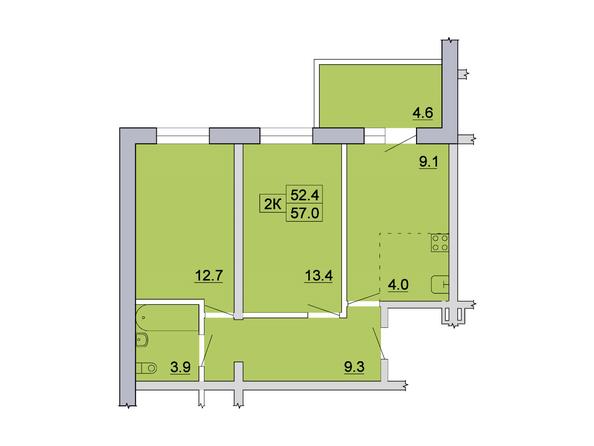 Планировка 2-комн 57 м²