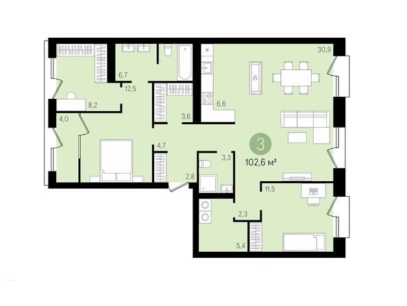 3-комнатная 102,5 кв.м