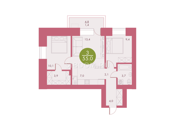 Планировки Жилой комплекс Арбан SMART (Смарт) на Шахтеров, д 3 - Планировка трехкомнатной квартиры 55 кв.м