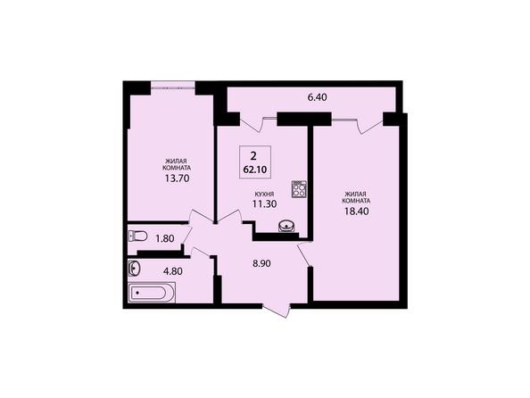 Планировки Жилой комплекс VIVANOVA (Виванова) - Планировка двухкомнатной квартиры 62,1 кв.м