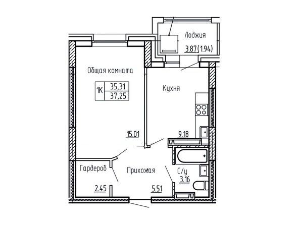 1-комнатная 37.25; 37.45 кв.м