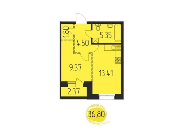 1-комнатная 36,8 кв.м