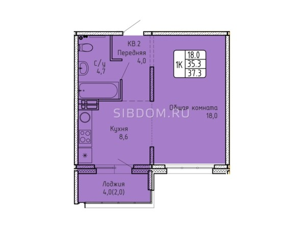 Планировка 1-комн 37,3 м²