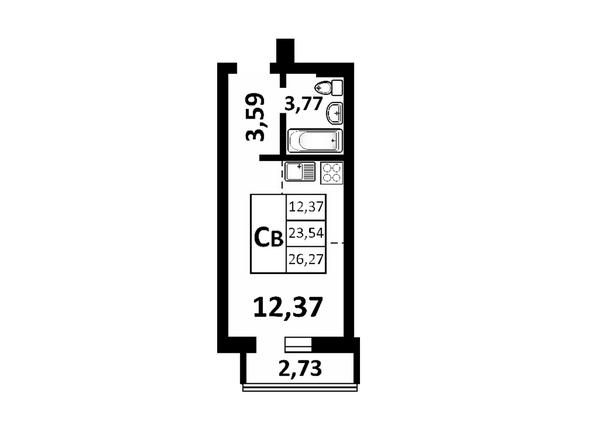 Планировки Жилой комплекс ЗОРКИЙ, 2 оч - 1-комнатная 26,27 кв.м