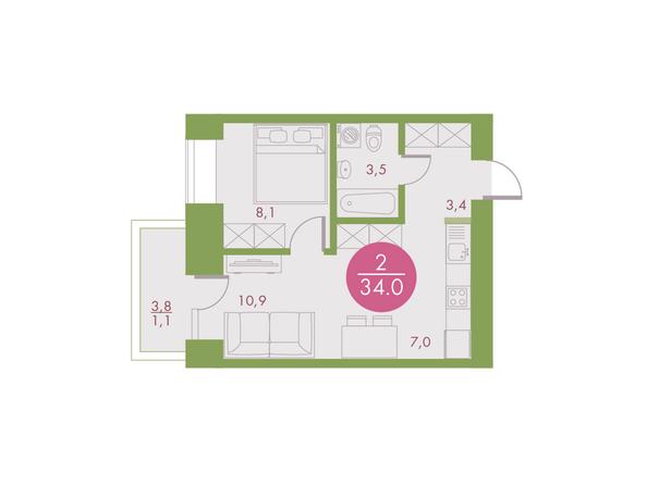 2-комнатная 34 кв.м