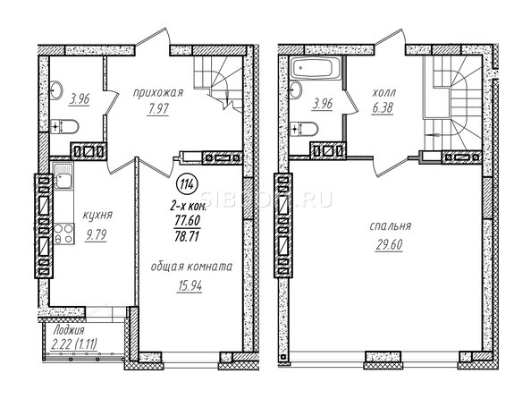 2-комнатная двухуровневая 78.71 кв.м