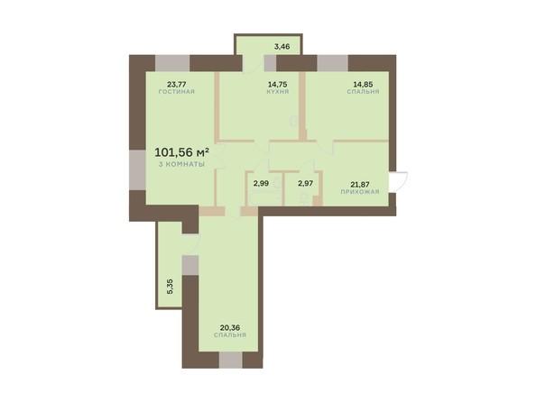 Планировка 3-комн 101,56 м²