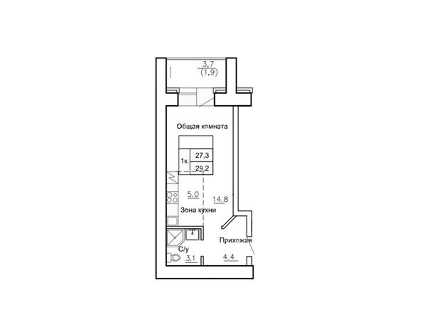Планировки Жилой комплекс НОВАЯ ПРИСТАНЬ, дом 4 - Планировка однокомнатной квартиры 29,2 кв.м