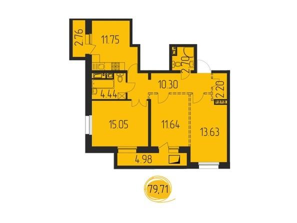 3-комнатная 79,71 кв.м