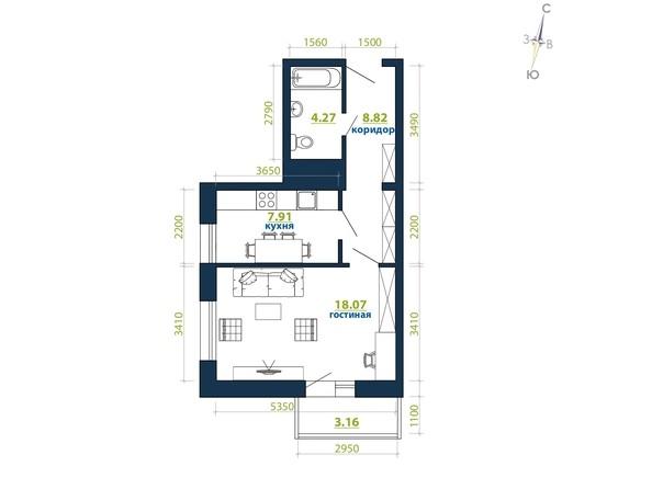 Планировка 1-комн 42,23 м²