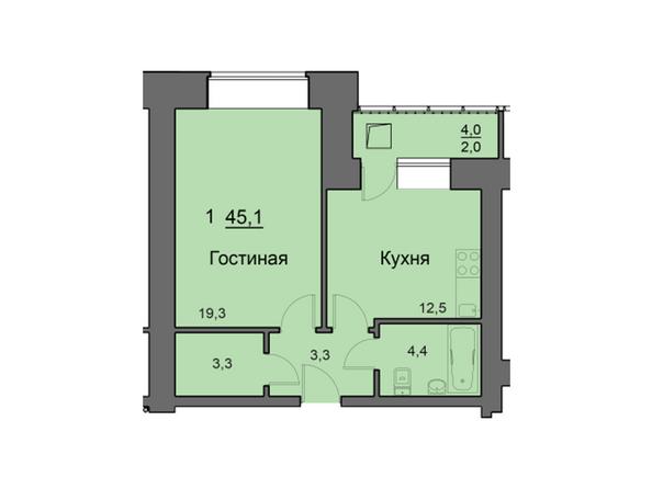 Планировки Жилой комплекс SKY SEVEN, б/с 8, 2 оч - Планировка однокомнатной квартиры 45,1 кв.м