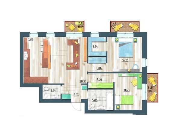 Планировки Жилой комплекс ЖИВЁМ эко-район, 5 квартал, дом 1 - Планировка трехкомнатной квартиры 87,48 кв.м
