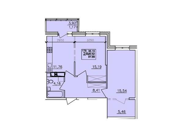 Планировки АЛЕКСАНДРИЯ, б/с 6 - 2-комнатная 61,69 кв.м
