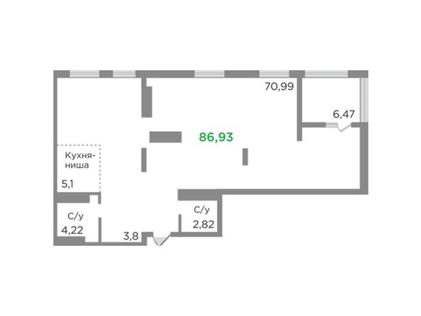 Планировки Жилой комплекс ЯСНЫЙ БЕРЕГ, дом 12 - Планировка однокомнатной квартиры 86,93 кв.м