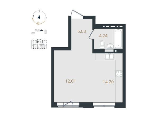 1-комнатная 35,48 кв.м
