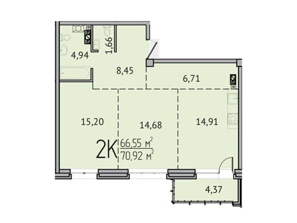 2-комнатная 66,55 кв.м