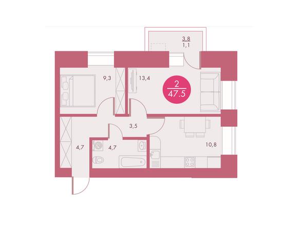 Планировки Жилой комплекс Арбан SMART (Смарт) на Шахтеров, д 3 - Планировка двухкомнатной квартиры 47,5 кв.м