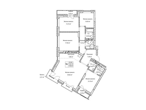 Планировки Жилой комплекс ГУДИМОВ - Планировка пятикомнатной квартиры 124,1 кв.м