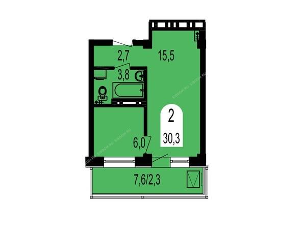 Планировки Жилой комплекс ТИХИЕ ЗОРИ, дом 1 (Красстрой) - Планировка двухкомнатной квартиры 30,3 кв.м