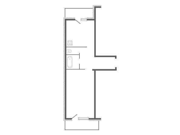 Планировка 1-комн 44, 44,66 м²